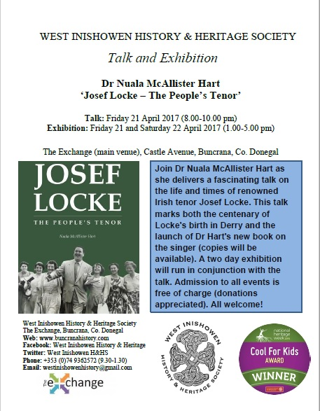Josef Locke Talk and Exhibtion April 2017 Final